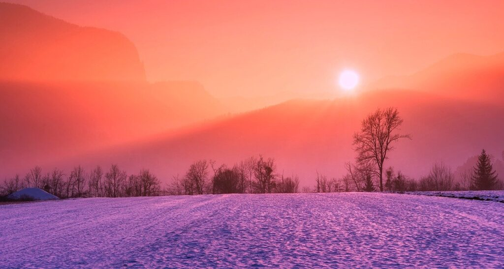 winter, snow, sunrise